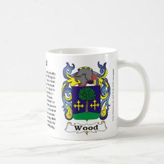 Taza de madera del escudo de la familia