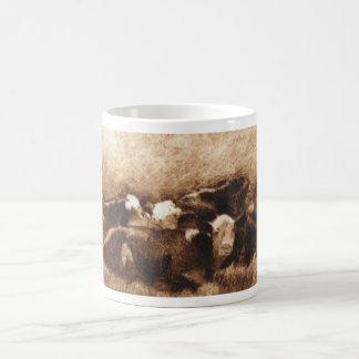 Taza de Monoprint de la pila de la vaca