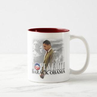 Taza de Obama de la esperanza y de la fe