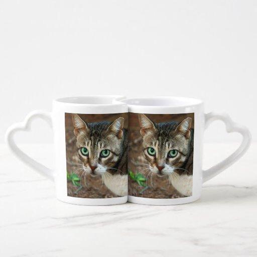 Taza de ojos verdes de los amantes del gato taza para enamorados