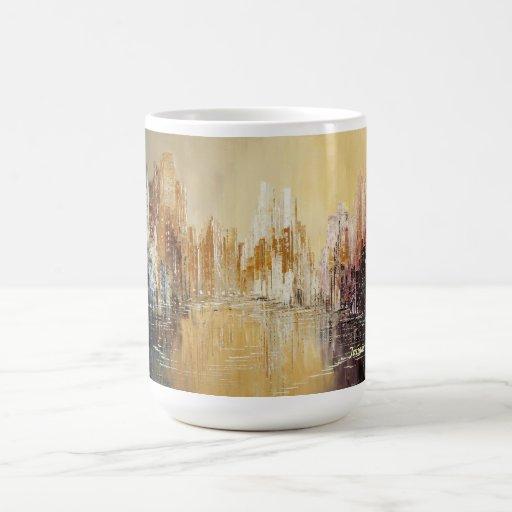Taza de oro del paisaje urbano de la mañana de Tat