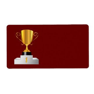 Taza de oro del trofeo etiquetas de envío