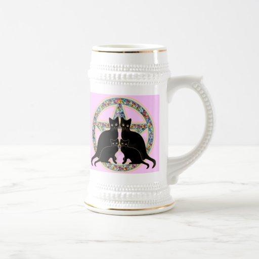 Taza de Ostara Pascua de los gatos negros del Pent