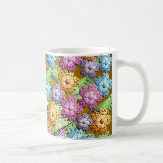 taza de papel del jardín de flores 3D