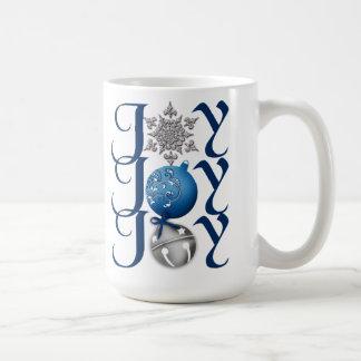 Taza de plata azul de la alegría del navidad