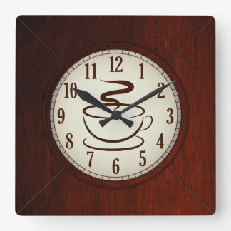 Taza de reloj de pared de madera del café