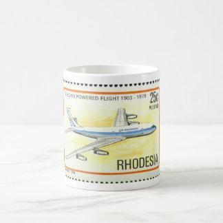 Taza de Rhodesia del aire con el sello conmemorati