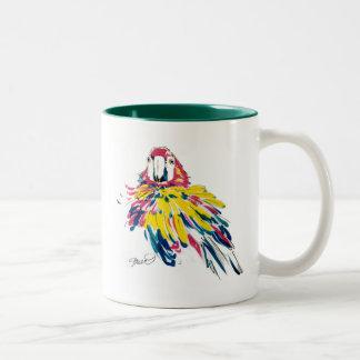 Taza de seda de la pintura del loro del Macaw del