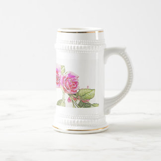 Taza de Stein de la cerveza del rosa rojo