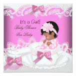 Taza de té afroamericana del bebé del rosa del invitaciones personalizada
