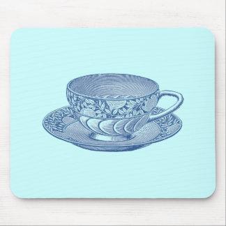 Taza de té azul del vintage tapete de ratones