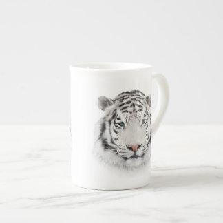 Taza de té blanca de la cabeza del tigre taza de porcelana