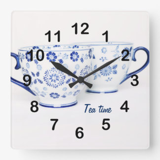 Taza de té clásica elegante azul reloj cuadrado