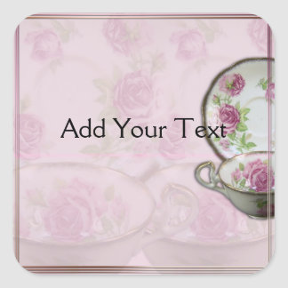 Taza de té color de rosa rosada antigua en color pegatina cuadrada