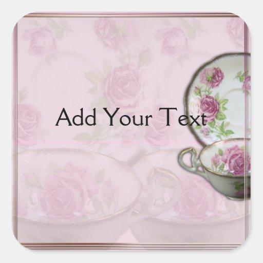 Taza de té color de rosa rosada antigua en color calcomanias cuadradas