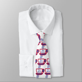 Taza de té de la fiesta del té - rojo, blanco y corbatas personalizadas