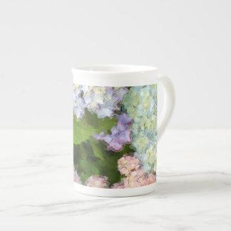 Taza de té de la porcelana de hueso de los Hydrang Taza De Porcelana