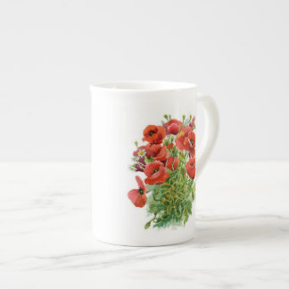 Taza de té de las amapolas de la acuarela