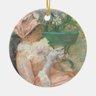 Taza de té de Mary Cassatt, impresionismo del Adorno Navideño Redondo De Cerámica