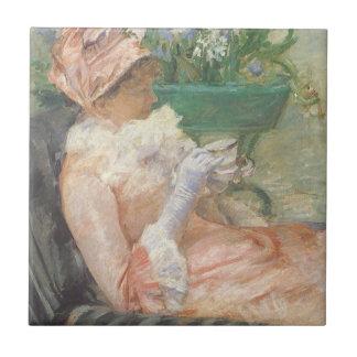 Taza de té de Mary Cassatt, impresionismo del Azulejo Cuadrado Pequeño