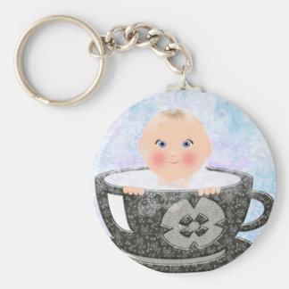 Taza de té del baño de burbujas del bebé llavero redondo tipo pin