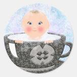 Taza de té del baño de burbujas del bebé etiquetas redondas