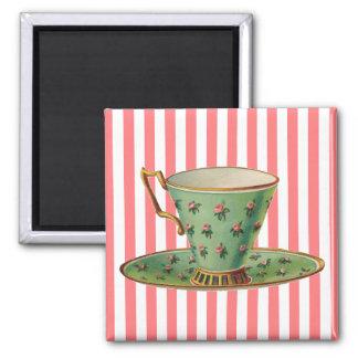 Taza de té del Victorian del vintage Imán De Nevera