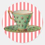 Taza de té del Victorian del vintage Etiquetas Redondas