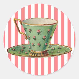 Taza de té del Victorian del vintage Pegatina Redonda