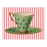 Taza de té del Victorian del vintage Postal