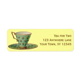 Taza de té del vintage etiquetas de remite