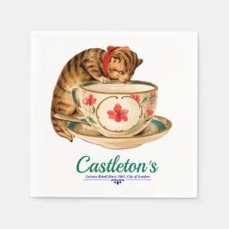 Taza de té del vintage y poster del gatito para la servilleta de papel