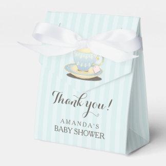 Taza de té elegante en caja azul del favor de la cajas para regalos de fiestas