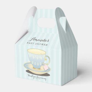 Taza de té elegante en caja azul del favor del caja para regalos