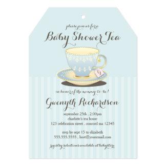 """Taza de té elegante en fiesta del té azul de la invitación 5"""" x 7"""""""