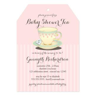 """Taza de té elegante en la fiesta del té rosada de invitación 5"""" x 7"""""""