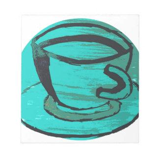 taza de té en verde libreta para notas