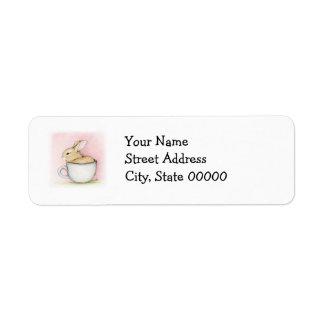 Taza de té etiquetas de remite
