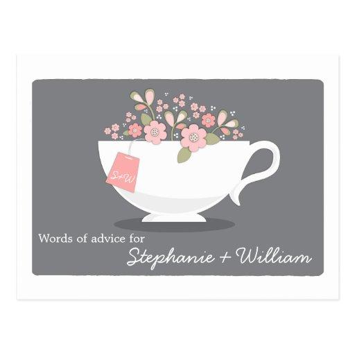 Taza de té floral de la ducha de la tarjeta nupcia tarjeta postal