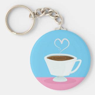 Taza de té linda con vapor del corazón llavero redondo tipo pin
