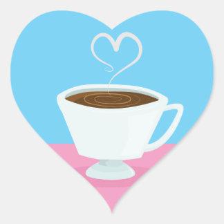 Taza de té linda con vapor del corazón pegatina en forma de corazón