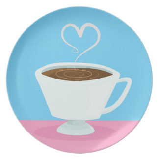 Taza de té linda con vapor del corazón plato para fiesta
