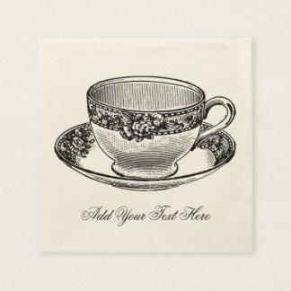 Taza de té nupcial del vintage servilleta de papel