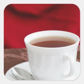 Taza de té pegatina cuadrada