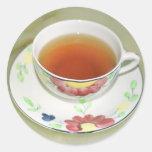 Taza de té pegatina redonda