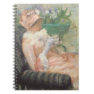 Taza de té por Cassatt, arte del impresionismo del Libros De Apuntes Con Espiral