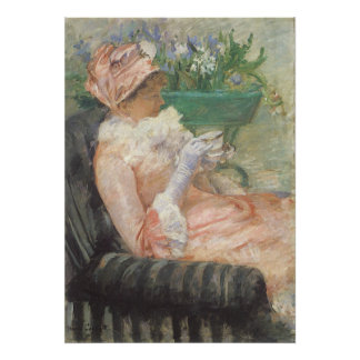 Taza de té por Cassatt, arte del impresionismo del Póster