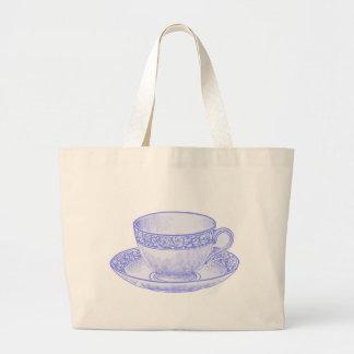 Taza de té púrpura bolsa tela grande