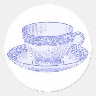 Taza de té púrpura pegatinas redondas