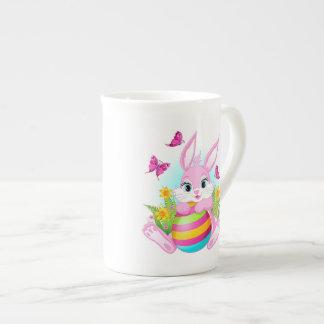 Taza de té rosada del conejito de pascua taza de porcelana